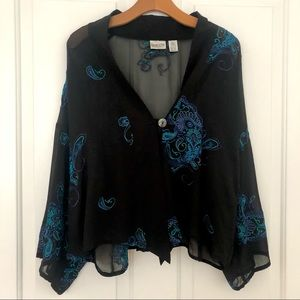 Chico's Embroidered Black Sheer Silk Cardigan